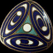 "Vintage Triangular Art Deco Enamel Button Geometric Pattern Blue Green White 1"""