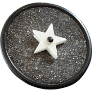 "Antique Victorian Mother of Pearl Metal Glitter Composition Button 1 1/16"" Five pointed Star"