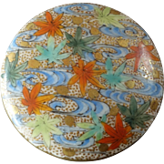 Large Antique Japanese Satsuma Button Autumn Leaves on Water 1 1/4""