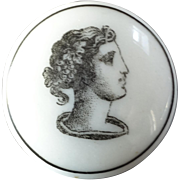 Antique Victorian Liverpool Transfer Parcelain Button Classic Woman's Head in Profile 7/8""