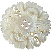 Antique Carved Openwork Mother of Pearl Button Flowers Peony Japan China 1 1/8""