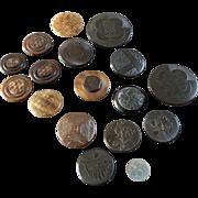 """17 Antique Vegetable Ivory Tagua Corozo Buttons Vienna Art Nouveau Flowers Geometric Patterns  7/16"""" to 1 1/4"""""""