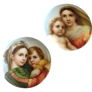 A Pair of Antique Victorian Finely Painted Porcelain Lapel Stud Buttons Rafael Sistine Madonna and Madonna della Seggiola 1 1/16""