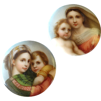 """A Pair of Antique Victorian Finely Painted Porcelain Lapel Stud Buttons Rafael Sistine Madonna and Madonna della Seggiola 1 1/16"""""""
