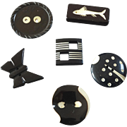 """Six Vintage Black and White Art Deco Casein Galalith Buttons Fish Ladybird Butterfly 13/16"""" to 1 1/16"""""""