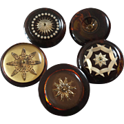 """Five Large Italian Couture Lucite Buttons Stars 1 7/16"""""""