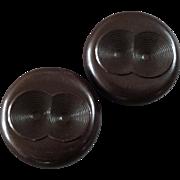 """Two Large Vintage Art Deco Plastic Bakelite Buttons Geometric Design 1 1/2"""""""