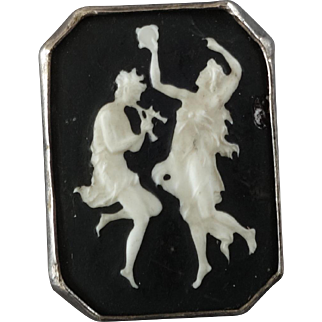 "Antique Victorian Porcelain Metal Button 2 Dancers from Greek Mythology 1"" - please view condition"
