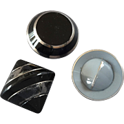 """Three Vintage Art Deco Czech Platinized Black Grey Glass Buttons  - up to 1 3/16"""""""