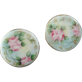 Two Antique Victorian Painted Gilt Porcelain Buttons Roses Limoges like Pastel Colours 1 1/16""