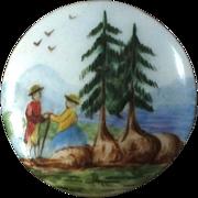 """Antique Victorian Painted Porcelain Button Romantic Couple Landscape Fir Trees 1 3/16"""""""