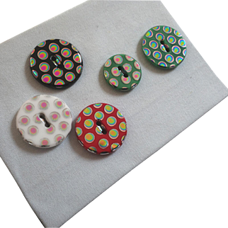 "A Card of 5 Vintage Multi Colour Vaporized New Gablonz Glass Buttons 5/8"" to 3/4"" Rainbow Colours"