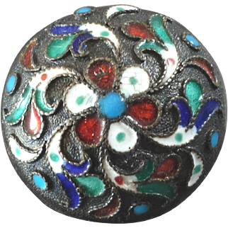Antique Russian 84 Zolotnik Silver Cloisonné Enamel Button 3/4""