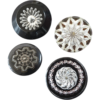 "Four Large Italian Couture Reverse Carved Lucite Buttons Stars Rosettes 1 5/16"" to 1 11/16"""