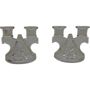 Federal Glass Company Pressed Glass Double Candlestick set, 2 piece  ca. 1938-1945