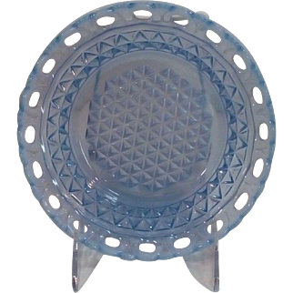"""Imperial Blue Opalescence Depression Glass 'Katy' 7"""" Dish"""