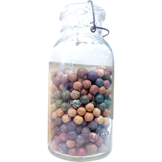 Antique Clay Marbles in Jar, 492 count 1880-1910