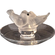 Lalique glass ring tray topped with pair of lovebirds