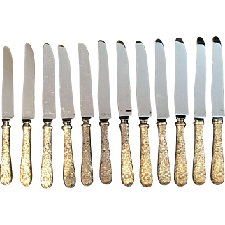 "Sterling ""Repousse"" by S. Kirk & Sons Place Knives.  Set of 12."