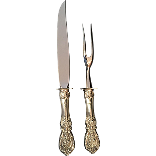"Sterling handle ""Francis I"" by Reed & Barton Two-Piece Steak Carving Set"