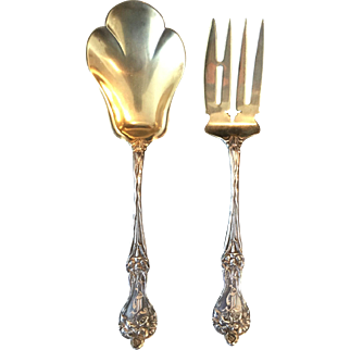 "Sterling ""Majestic"" by Alvin serving fork and spoon.  Monogrammed."