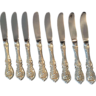 "Sterling ""Francis I"" by Reed & Barton set of 8 butter spreaders – modern blade"