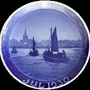 "Royal Copenhagen Annual Christmas Plate 1930 ""Fishing Boats Returning"""