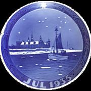 "Royal Copenhagen Annual Christmas Plate 1935 ""Boat Off Kronborg Castle"""