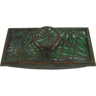 Early Tiffany Studios Bronze And Favrile Glass Pine Needle Rocker Blotter