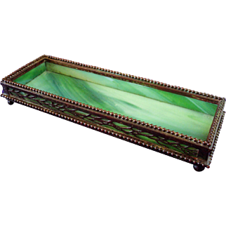 Tiffany Studios Bronze And Favrile Glass Lineal Vine Utility Tray