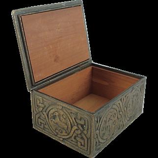 Tiffany Studios Zodiac Pattern Bronze Wood Lined Cigarette Box