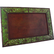 Rare Huge Tiffany Studios Bronze And Favrile Glass Pine Needle Picture Frame