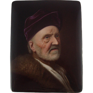 Marked Porcelain Plaque Portrait of Rembrant's Father After Denner KPM Style