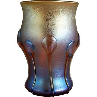 Tiffany Studios Favrile Glass Moravian Pattern Tumbler Vase