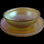 Tiffany Studios Favrile Glass Bowl & Saucer Set (B)