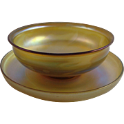 Tiffany Studios Favrile Glass Bowl & Saucer Set (D)