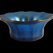 Tiffany Studios Favrile Glass Blue Flared Salt Dish