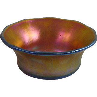 Tiffany Studios Gold Favrile Glass Flared Salt Nut Dish