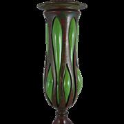 Tiffany Studios Bronze And Blown Favrile Glass Tripod Candlestick