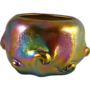Tiffany Studios Gold Favrile Glass Salt Dish With Pulled Prunts