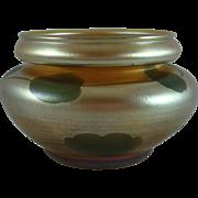 Fine Tiffany Studios Gold Favrile Glass Lily Pad Bowl