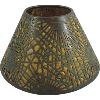 Rare early Tiffany Studios Bronze Pine Needle Candle Shade W Mica & Fabric Liner