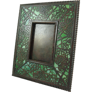 Early Tiffany Studios Bronze And Favrile Glass Grapevine Picture Frame - MINT
