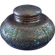 Tiffany Studios Grapevine Pattern Bronze And Favrile Glass Round Inkwell