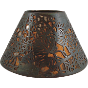 Rare early Tiffany Studios Bronze Grapevine Candle Shade With Mica & Fabric Liner