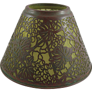 Rare early Tiffany Studios Bronze Grapevine Candle Shade Over Green Glass Shade