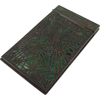 Rare Tiffany Studios Pine Needle Pattern Bronze And Glass Note Pad