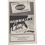 Hurricane Chart 1954 Bank Of Melbourne FL Florida Fold Out Map