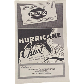 Hurricane Chart 1954 Bank Of Melbourne FL Florida Fold Out Map Storm Weather