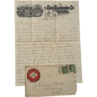 Letterhead and Envelope Ohio Cultivator Co Bellevue Ohio 1902 Farm Equipment